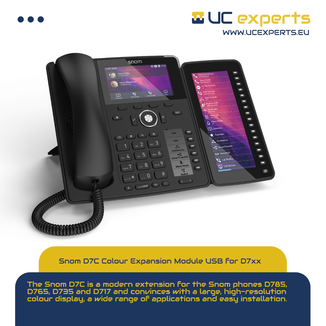 The Snom D7C is the most modern expansion module to date for the D785, D765, D735 and D717 telephones.