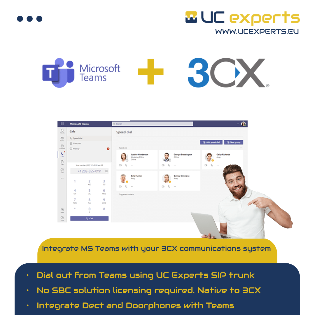 3CX natively supports Microsoft Teams