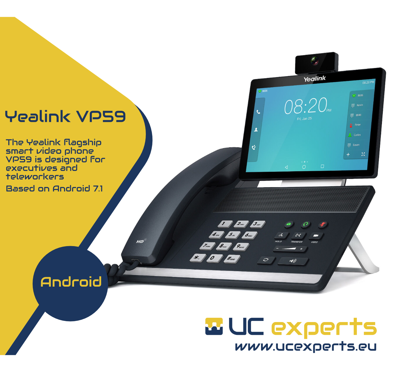 The Yealink flagship smart video phone VP59 is designed for executives and teleworkers