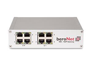 Up to 16 channels modular VoIP SBC with 4 FXO ports, expandable by 1 Module (BNMO-XX), 8 RJ45 slots, Dual NIC and 2 sessions free